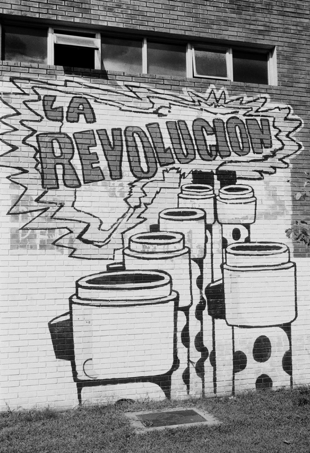 Pro-leftist revolutionary graffiti lines the wall October 1982 on the campus of San Carlos University in Guatemala City, Guatemala.