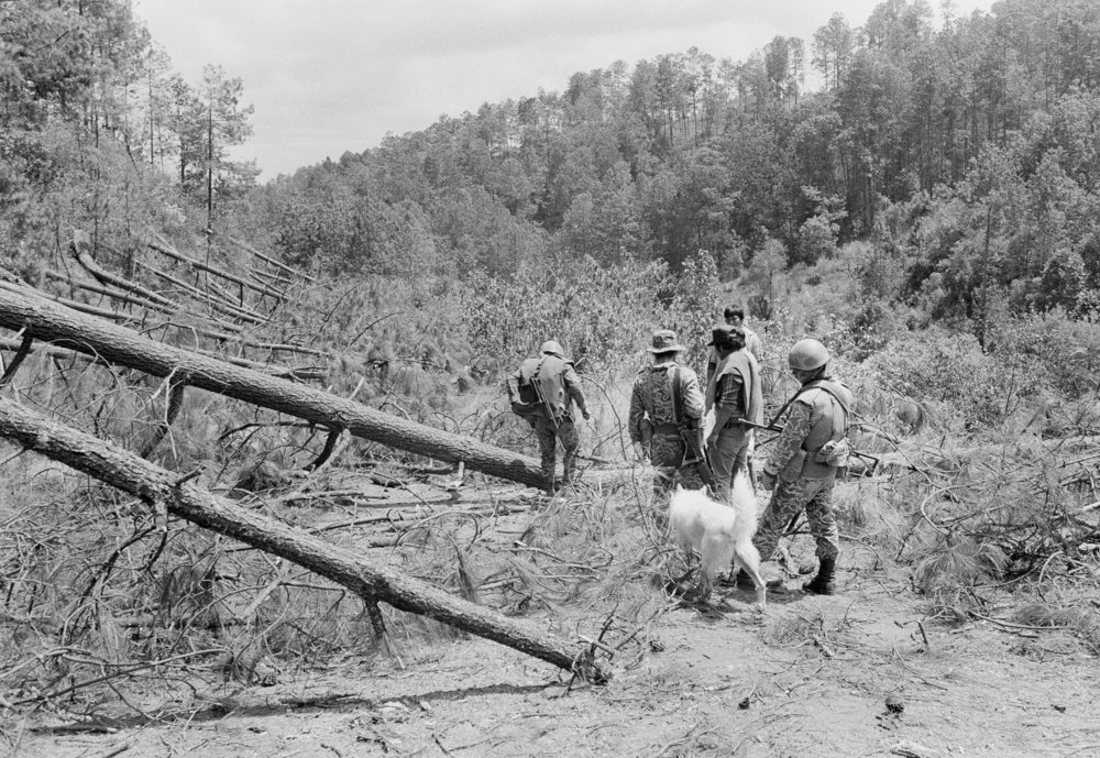 Guatemalan army soldiers clear a section of the Pan American Highway blocked by felled trees during the ongoing civil war, March 1982 in Los Encuentros, Guatemala. The trees were downed by the Guerrilla Army of the Poor, or EGP, to block the road the day of presidential elections.