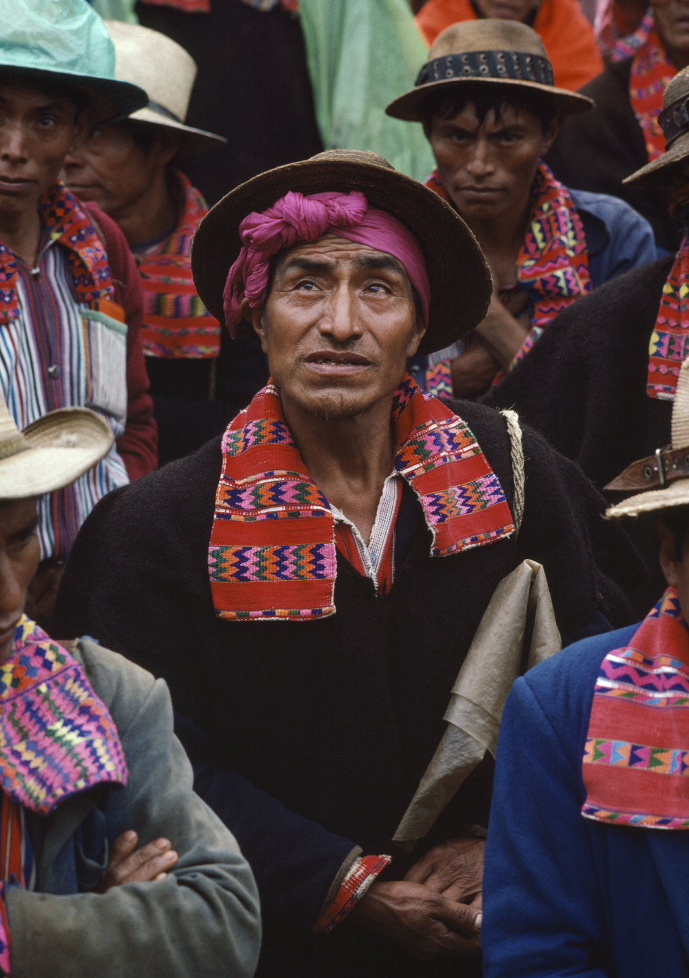 Local civil defense forces hold a meeting in the village square in Todos Santos, Guatemala on September 1, 1982.