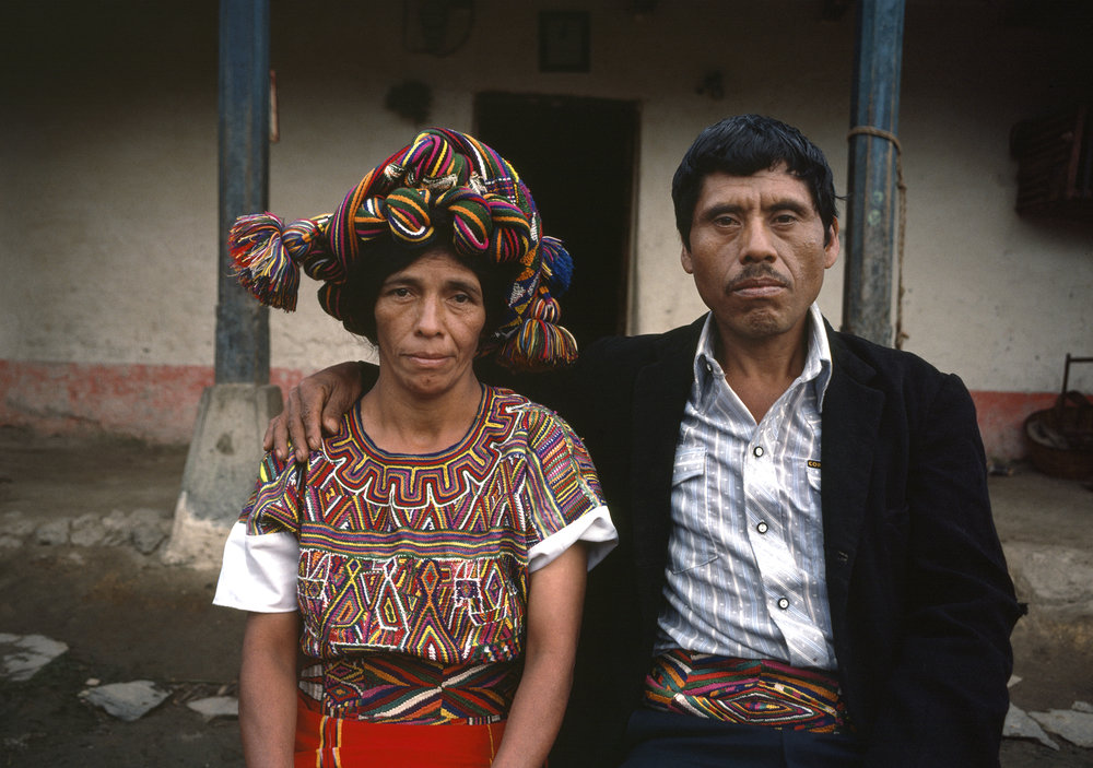 An Ixil Mayan couple, Petrona Brito, left, and Señor Brito, right, with the wife wearing a traditional head dress, sit for a picture in Nebaj, Guatemala January 1, 1984. Over 200,000 civilians were killed in the 36-year civil war with over 40,000 civilians missing, the majority of those were Ixil Mayan.