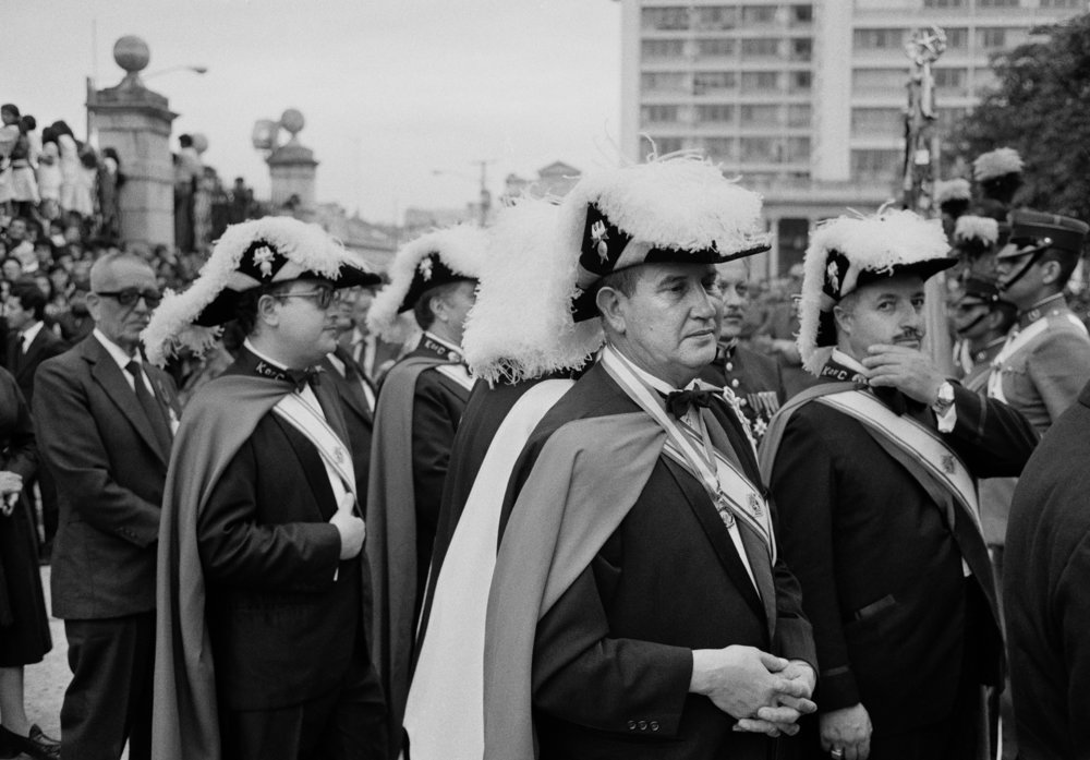Members of the Knights of Columbus wearing their formal dress attend the funeral ceremony for Mario Cardinal Casariego, the Roman Catholic Archbishop of Guatemala, who died of a heart attack on June 15, 1983, in Guatemala City, Guatemala. Mario Cardinal Casariego was an ardent supporter of the authoritarian regime throughout the domestic armed conflict.