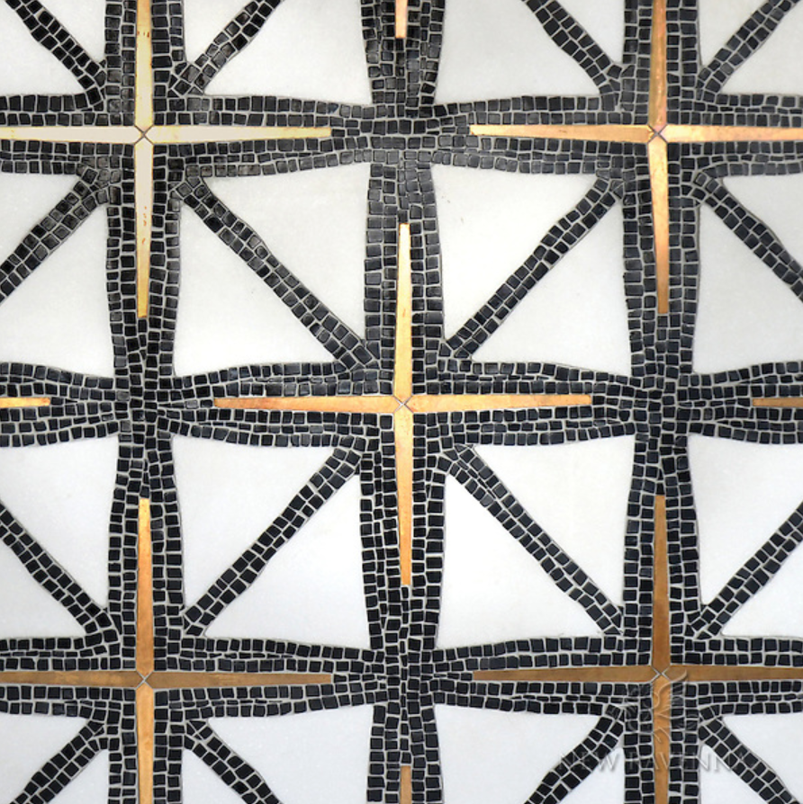Indus, a waterjet and hand-cut mosaic, shown in tumbled Nero Marquina, honed Thassos, and Bronze brushed. Designed by James Duncan for New Ravenna Mosaics.