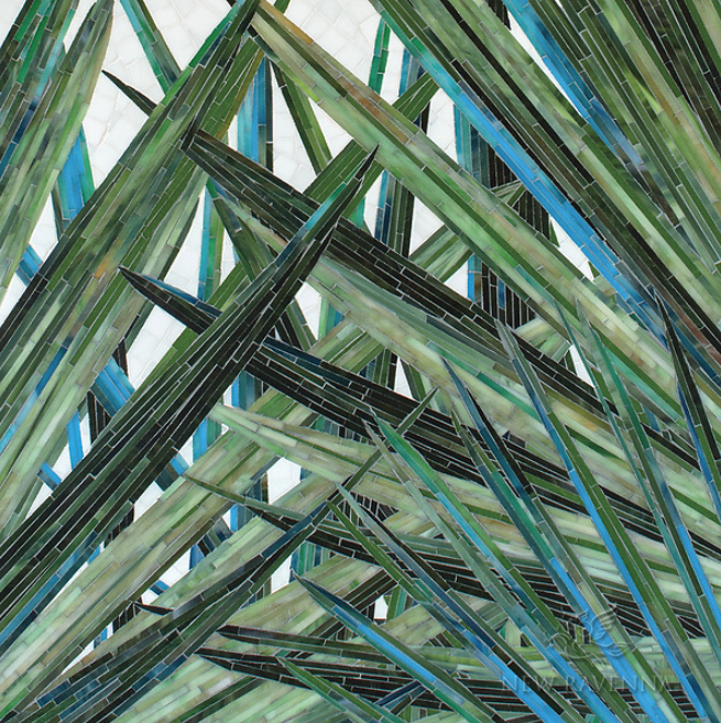 NEW RAVENNA: MOD PALM, a hand-cut jewel glass mosaic, shown in Verdite, Peridot, Malachite, Chrysocolla, Savorite, Cat's Eye, Jasper, Schist, Tanzite, and Peridot with Moonstone background with a Sea Glass™ finish,is part of the Broad Street™ Collection by J.Banks for New Ravenna.