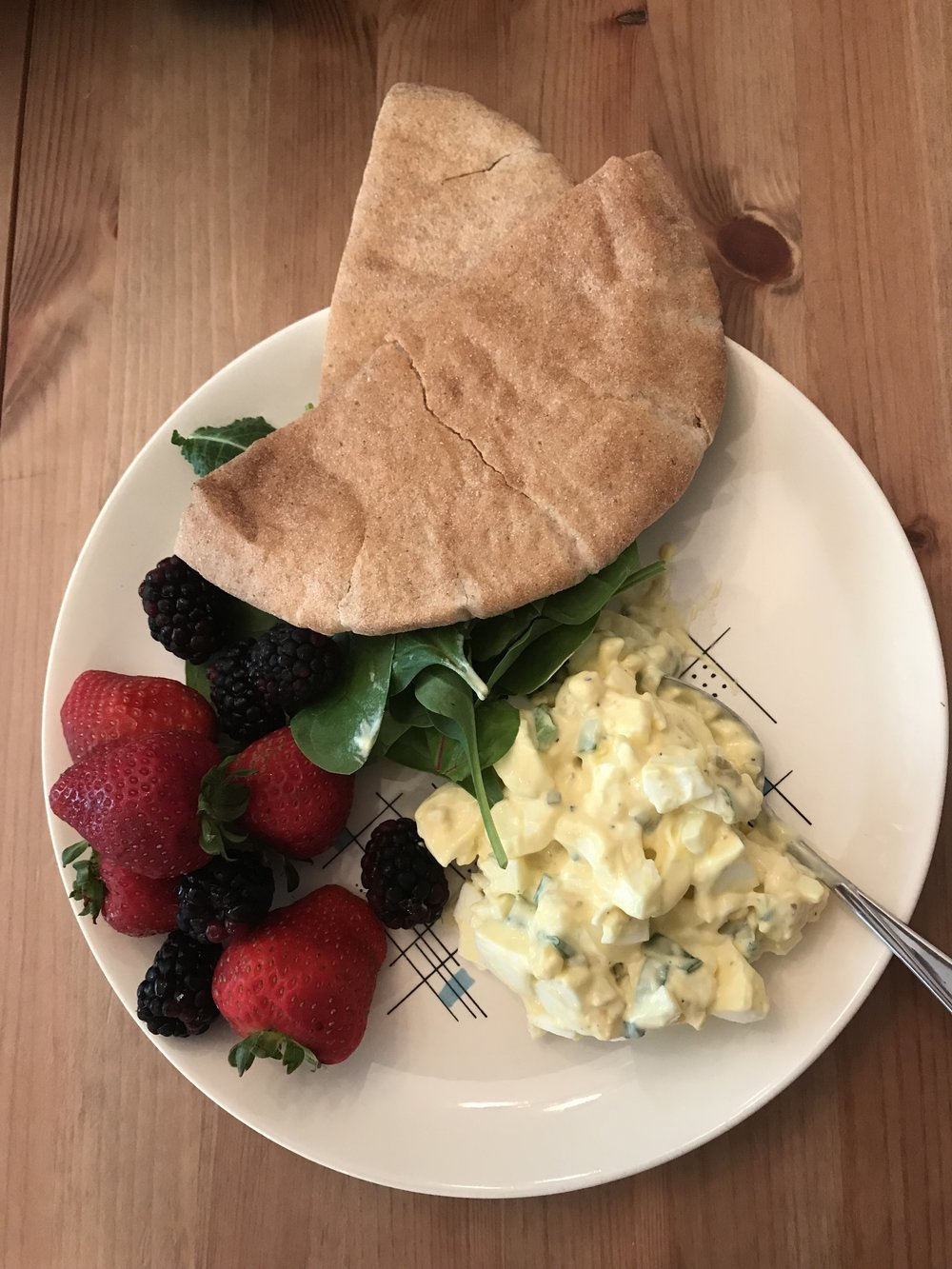 Classic Egg Salad - With greens, pita pocket and fruit salad