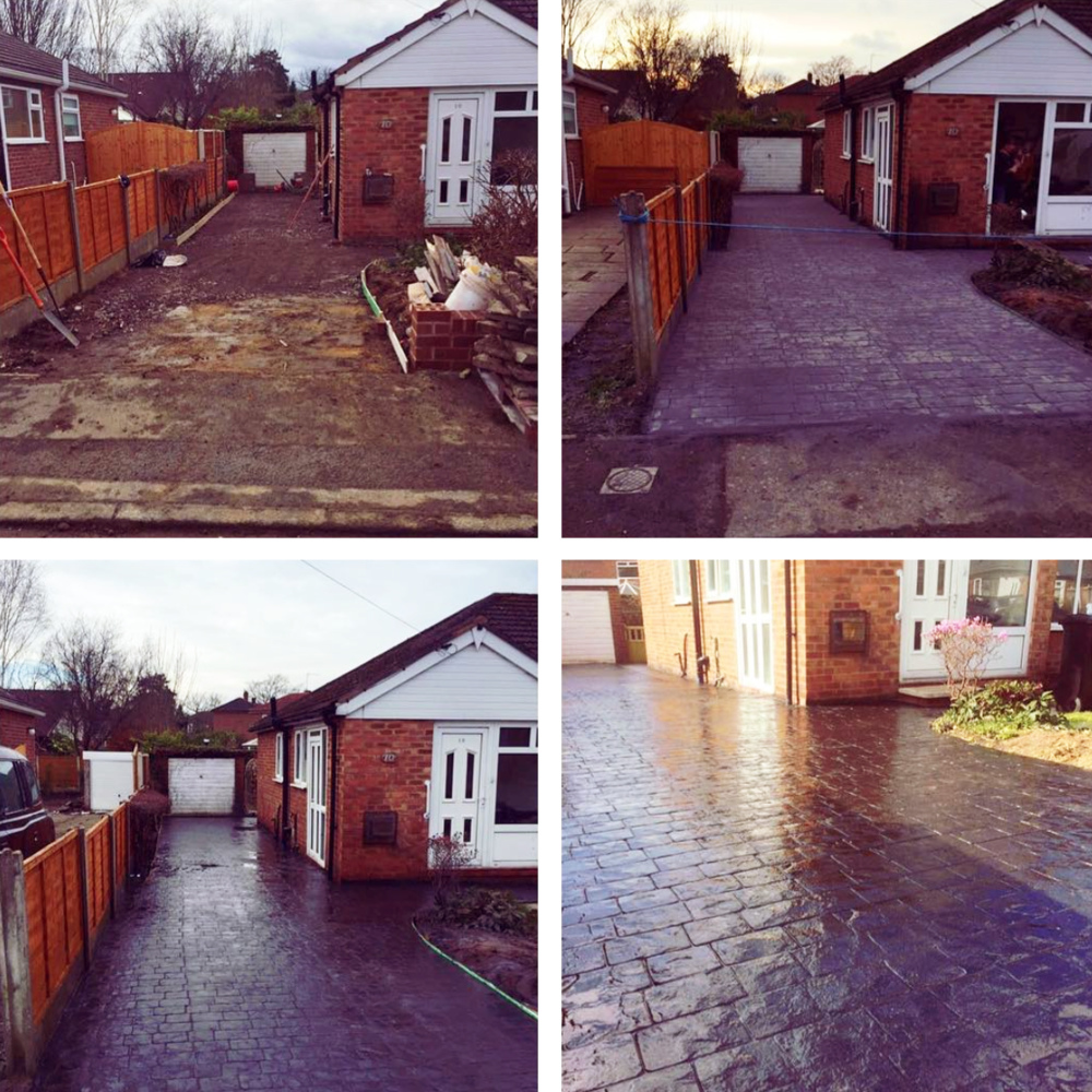 Imprinted concrete driveway in charcoal London cobble for a customer in Heald Green.