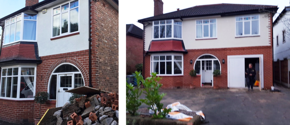 Before and after for an extension on a house in Hale