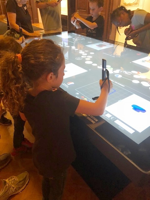 Designing her own blue table with the Pen