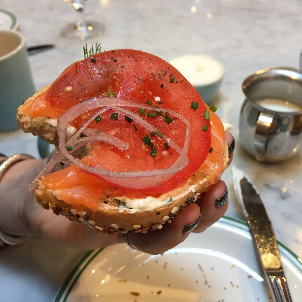 Lox, Tomato, Onion Bagel FTW