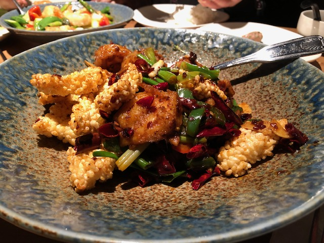 Wild Pepper Shrimp and Crispy Rice is spicy goodness!