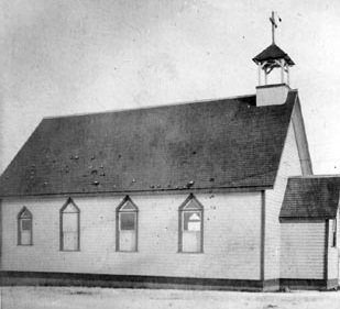 The first church building.