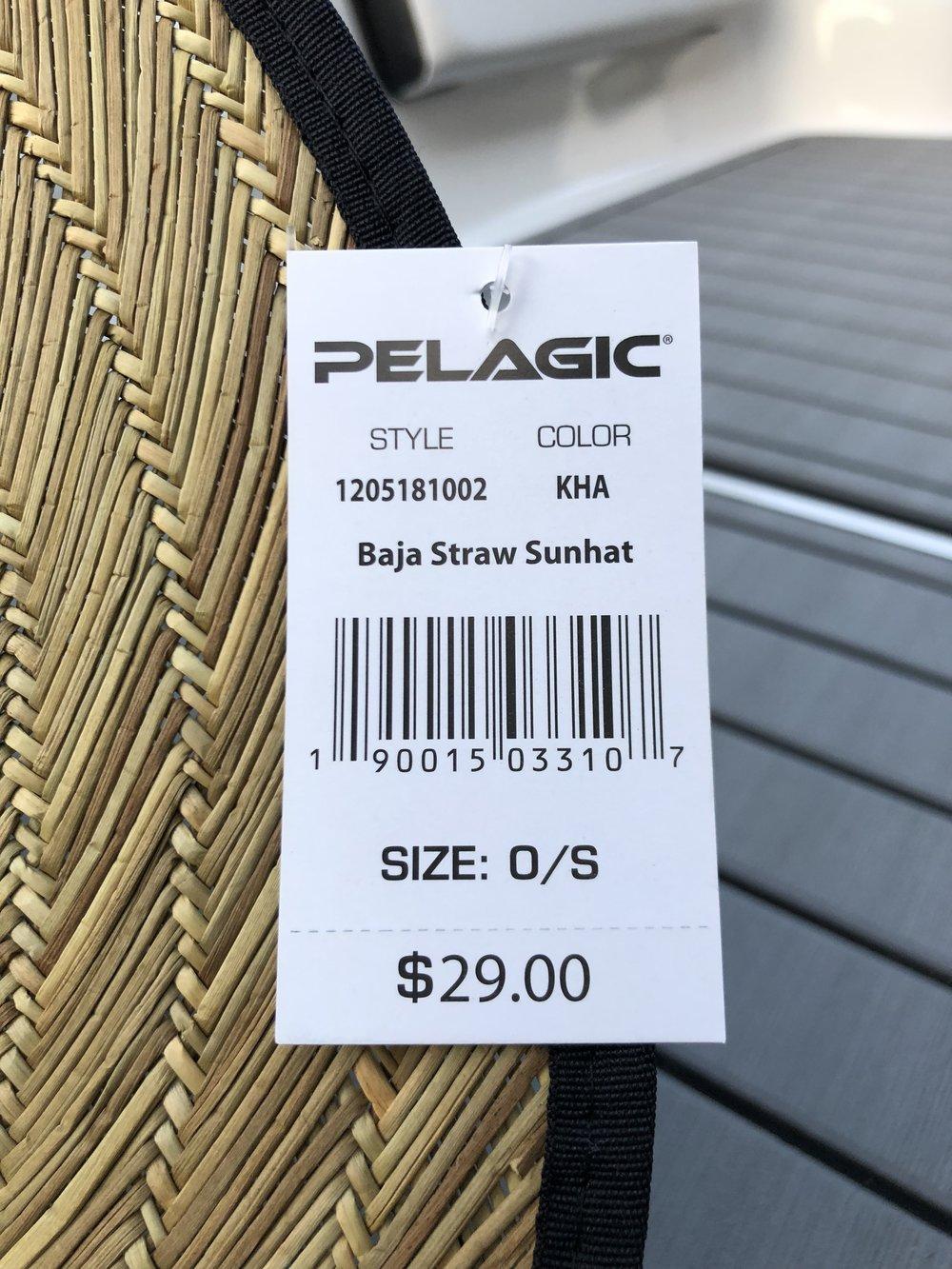 15d545c8e6690 Pelagic Baja Straw Hat Price Tag and Barcode