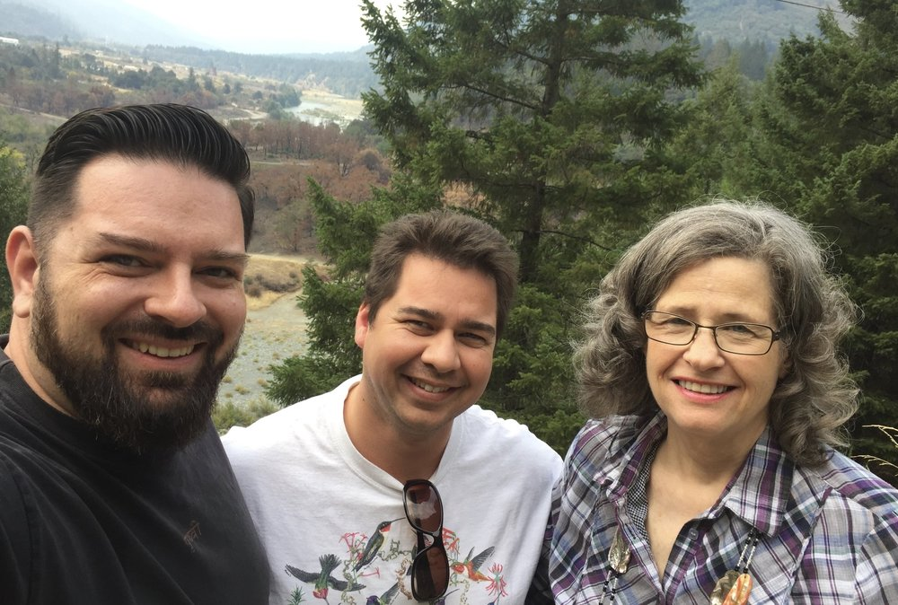 Brian Gleeson (left), Timothy Jordan (center), and Lee Davis (right).  Hoopa Valley, California, 2015.