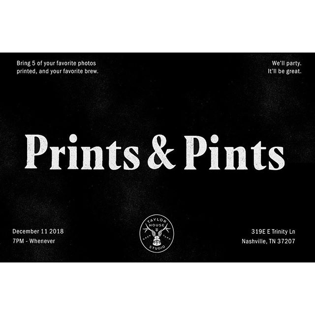 Prints and Pints night! Excited to get this going!  Join us Tue, Dec 11th at 7pm for the first round of Prints and Pints. As a lover of physical photographs we're starting an ongoing gathering of photographers who want to share work, talk shop, and have a good brew!  The idea: each photographer bring 3-5 printed images that they shot. We'll have tables out and be able to walk around, talk about the images and meet someone new! Nashville's photo community has grown rapidly the past few years and this the first in a few ideas we have to bring the community together. Hope to see you there!  Also shoutout to @judsoncollier for designing this invite by just blinking yesterday! #legend