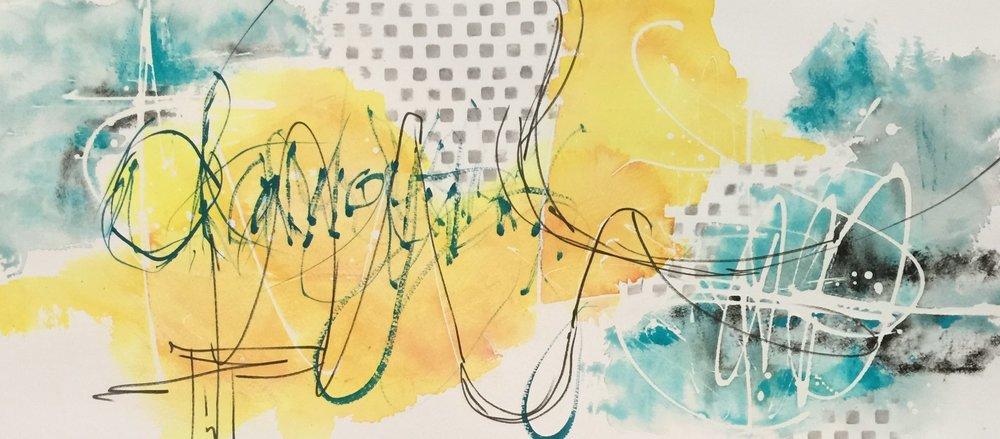 "Parting Storm,   Original Watercolor, 27"" x 16"" framed"