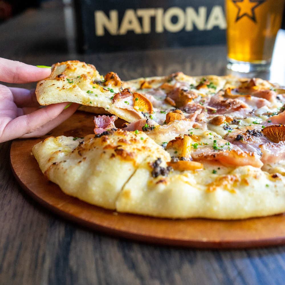 Hickory Ham and Chanterelle Mushroom Pizza -