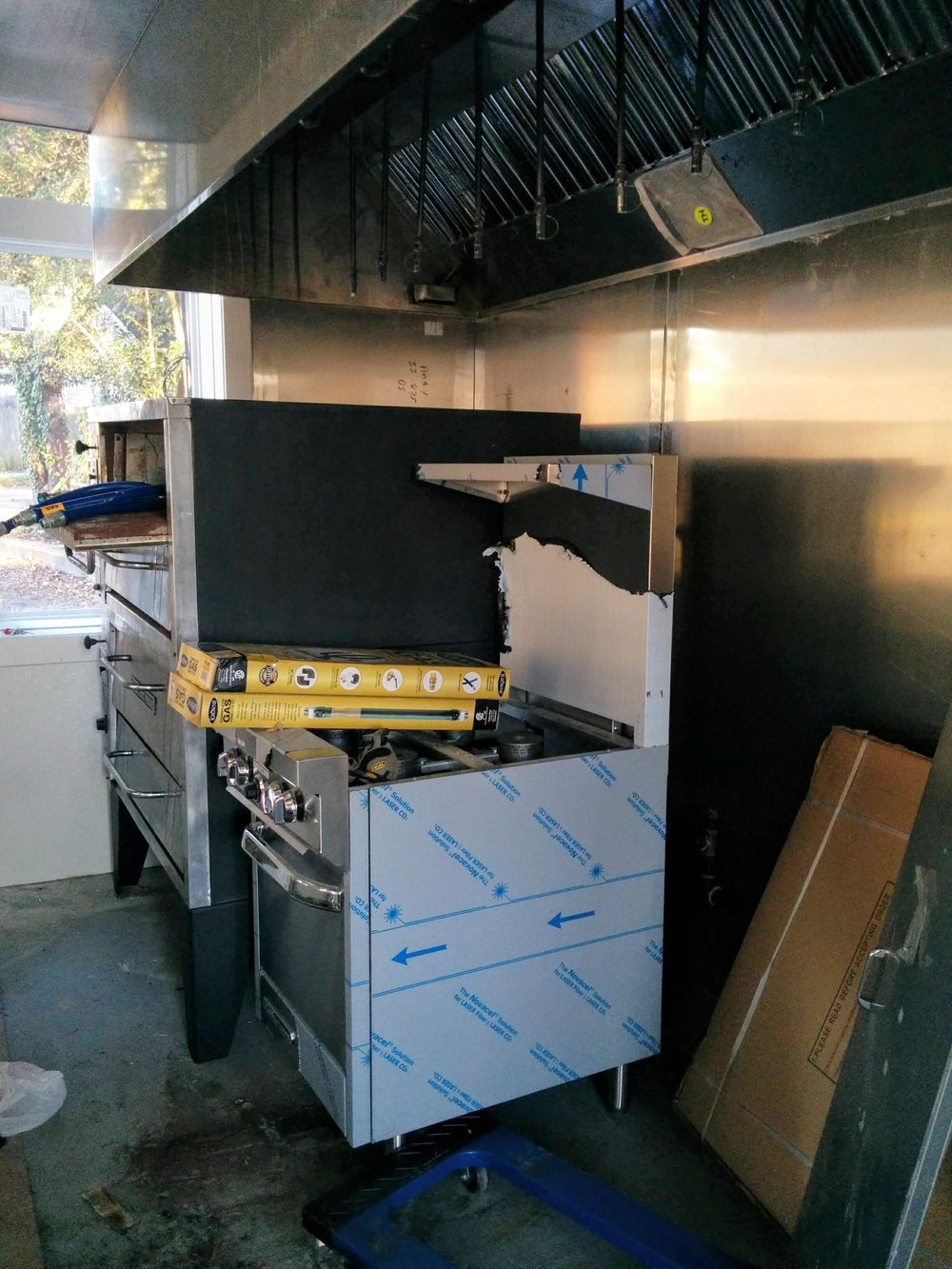 Pizza ovens and range almost in place for gas installation