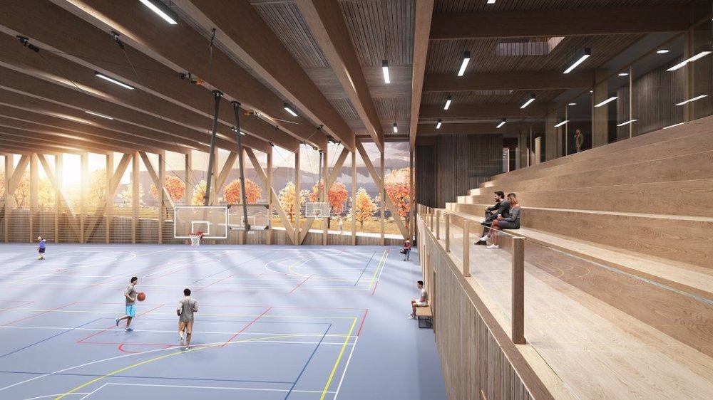 Ved Triaden: Den nye cheerleaderhallen skal bygges litt ned i bakken og ha en takhøyde på ni meter. Illustrasjon: Helling arkitekter. Bilde hentet fra Romerikes Blad.