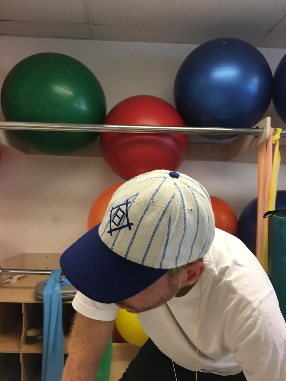 Vintage Brooklyn Dodgers Hat currently in rotation during one of my PT sessions (Photo: William R. Potter)
