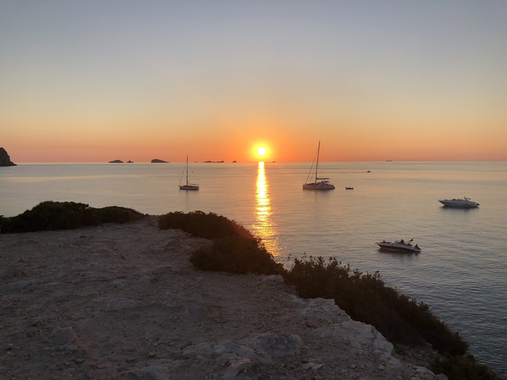Tonight's summer solstice setting over the Mediterranean Sea from Northern Ibiza