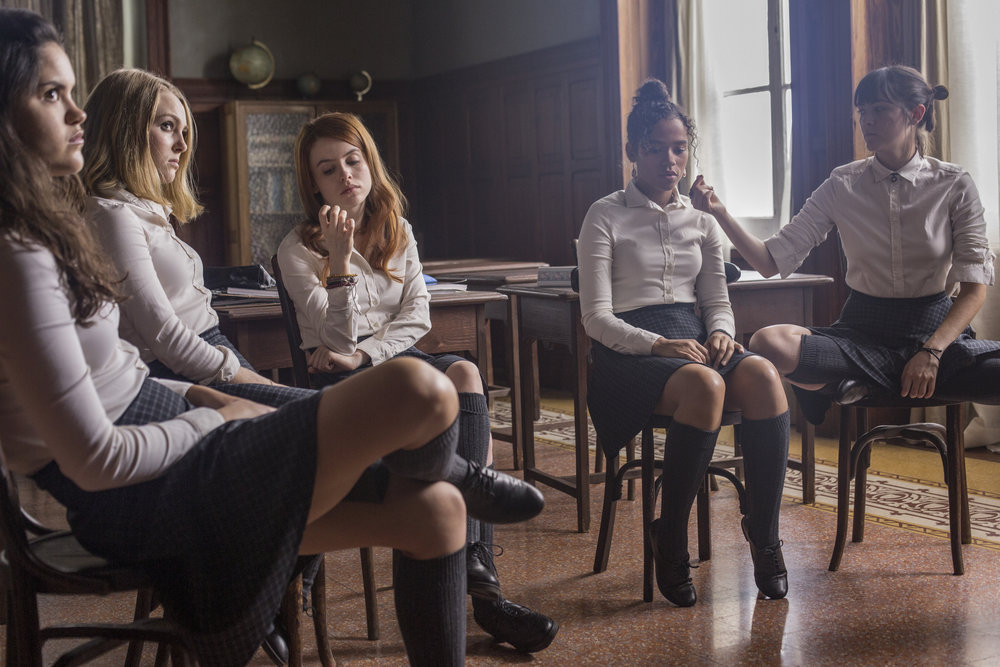 "Classmates — from left: Veronica (Victoria Moroles), Kit (AnnaSophia Robb), Sierra (Rosie Day), Ashley (Taylor Russell) and Izzy (Isabelle Fuhrman) — resist the educational efforts at a strange boarding school, in the horror thriller ""Down a Dark Hall."" (Photo courtesy Lionsgate Premiere)"