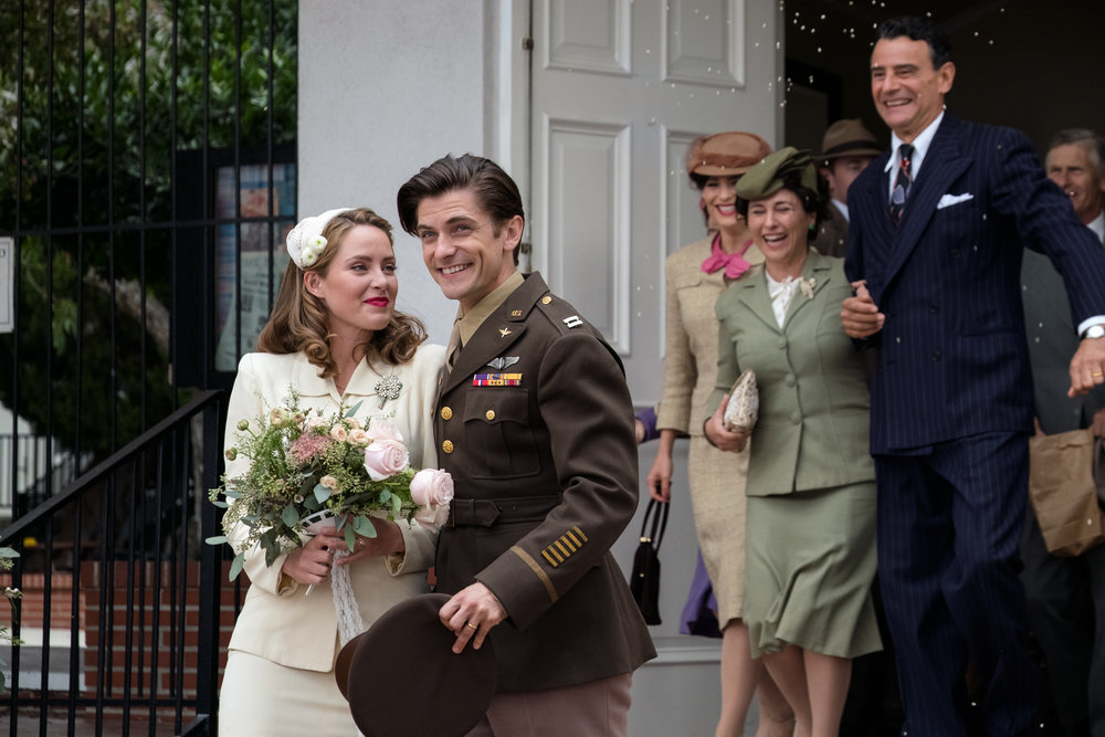 "Louis Zamperini (Samuel Hunt), former track star and POW, marries Cynthia Applewhite (Merritt Patterson), in a scene from the drama ""Unbroken: Path to Redemption."" (Photo courtesy WTA Group / Universal 1440 Entertainment)"