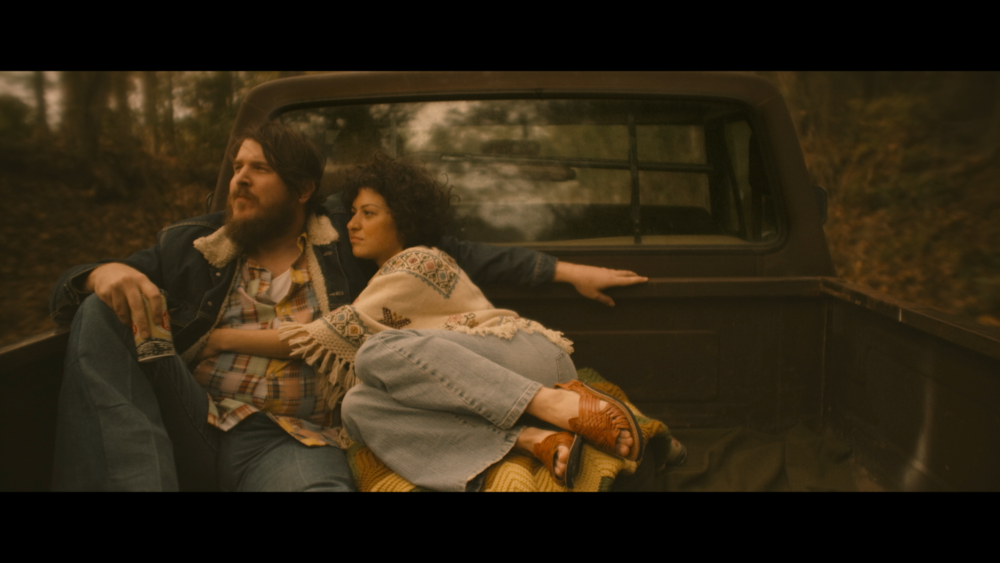 """Musician Blaze Foley (Ben Dickey, left) and his lady love, Sybil Rosen (Alia Shawkat), in a romantic moment from director Ethan Hawke's biographical drama """"Blaze."""" (Photo courtesy IFC Films)"""
