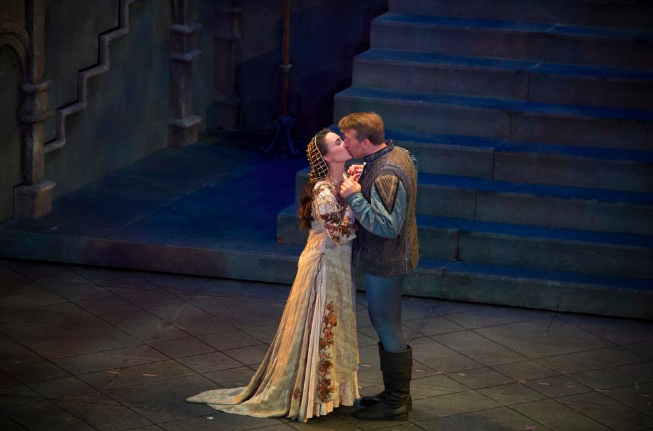 "Anya Matanovic plays Juliet and Joshua Dennis plays Romeo in Utah Opera's production of Charles Gounod's adaptation of ""Romeo & Juliet,"" at a dress rehearsal Thursday, Oct. 11, at Salt Lake City's Capitol Theatre. (Photo by Jeremy Harmon, The Salt Lake Tribune)"