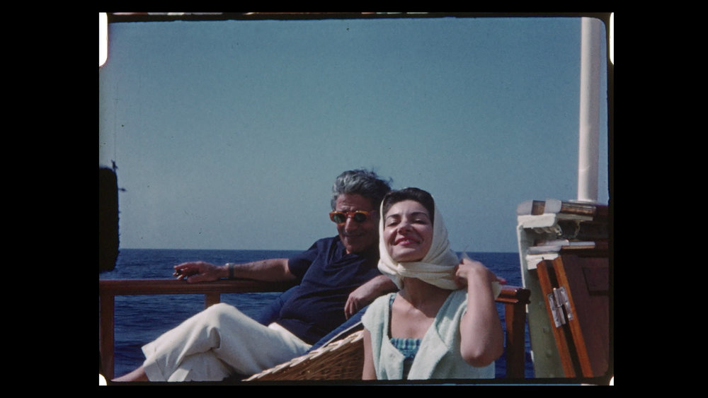 "Opera superstar Maria Callas on a yacht with tycoon Aristotle Onassis, in an image from the documentary ""Maria by Callas."" (Photo courtesy Sony Pictures Classics)"