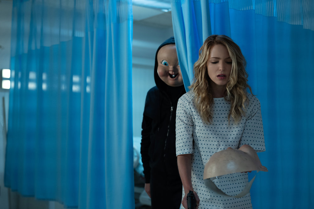 "College student Tree Gelbman (Jessica Rothe) again is pursued by the Baby Face Killer, in the horror sequel ""Happy Death Day 2U."" (Photo by Michele K. Short, courtesy Universal Pictures)"