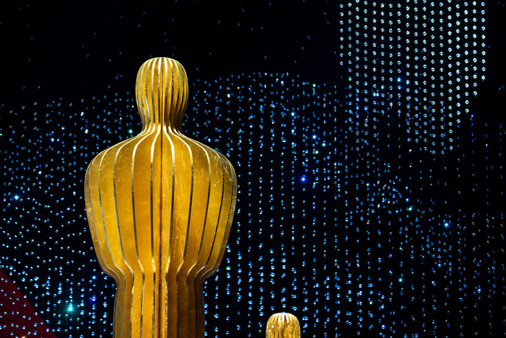 Oscar-themed set decorations are put in place at the Dolby Theatre in Hollywood on Thursday, ahead of the 91st annual Academy Awards ceremony on Sunday. The show will be telecast live on ABC, at 8 p.m. Eastern time — in Utah at 6 p.m. on KTVX, Ch. 4.. (Photo by Matt Petit, copyright A.M.P.A.S.)