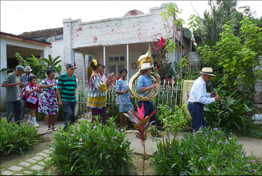 """Members of New Orleans' Preservation Hall Jazz Band play with Cuban musicians, in a moment from the documentary """"A Tuba to Cuba."""" (Photo courtesy Blue Fox Entertainment)"""
