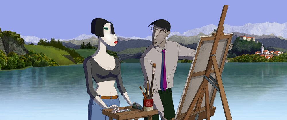 """Mimi, left, a daring thief, talks to her psychotherapist, Dr. Ruben Brandt, about painting and kleptomania, in the animated thriller """"Ruben Brandt, Collector."""" (Image courtesy Sony Classics Pictures)"""