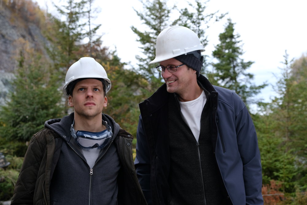 "Vincent Zaleski (Jesse Eisenberg, left) and his cousin Anton (Alexander Skarsgård) see their dream — a fiber-optic cable from Kansas to New Jersey — come to fruition in the drama ""The Hummingbird Project."" (Photo courtesy The Orchard)"