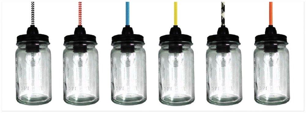 AGEE GLASS JAR PENDANTS -