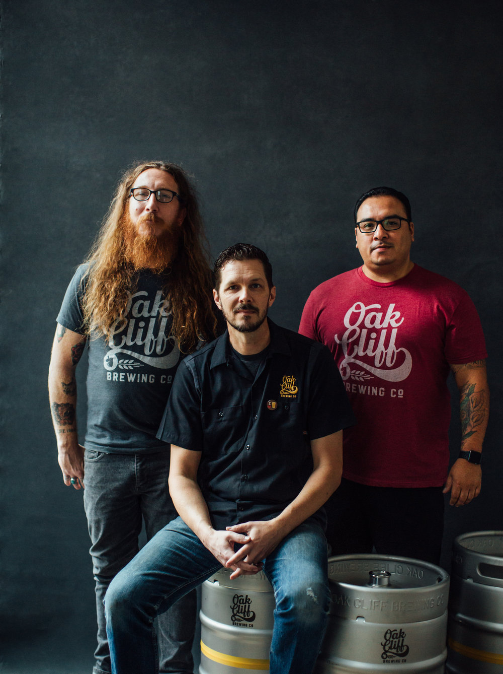 Pictured Left to Right: Todd Holder - Director of Brewing Operations, Joel Denton - Founder and Brewer, Jacob Contreras - Director of Sales