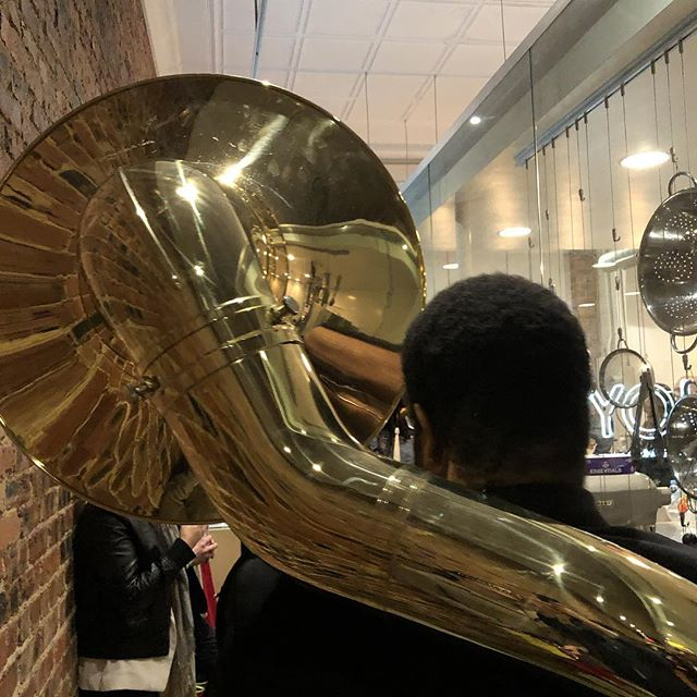 This is what the back of a sousaphone looks like. #MardiGrasOakCliff  You coming to @cliffhousetexas or what?