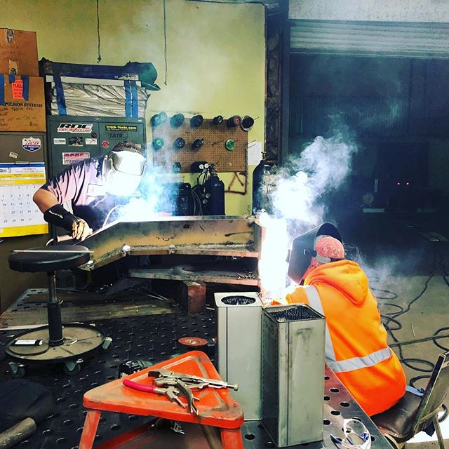 Burnin rod in the wee hours of the morning!  These guys have been staying late and coming in early to get this job done.  Quick turnarounds are what we do. #wilmingtonironworks #machineshop #fabrication #smaw #portofla #portoflb #99yearsinbusiness