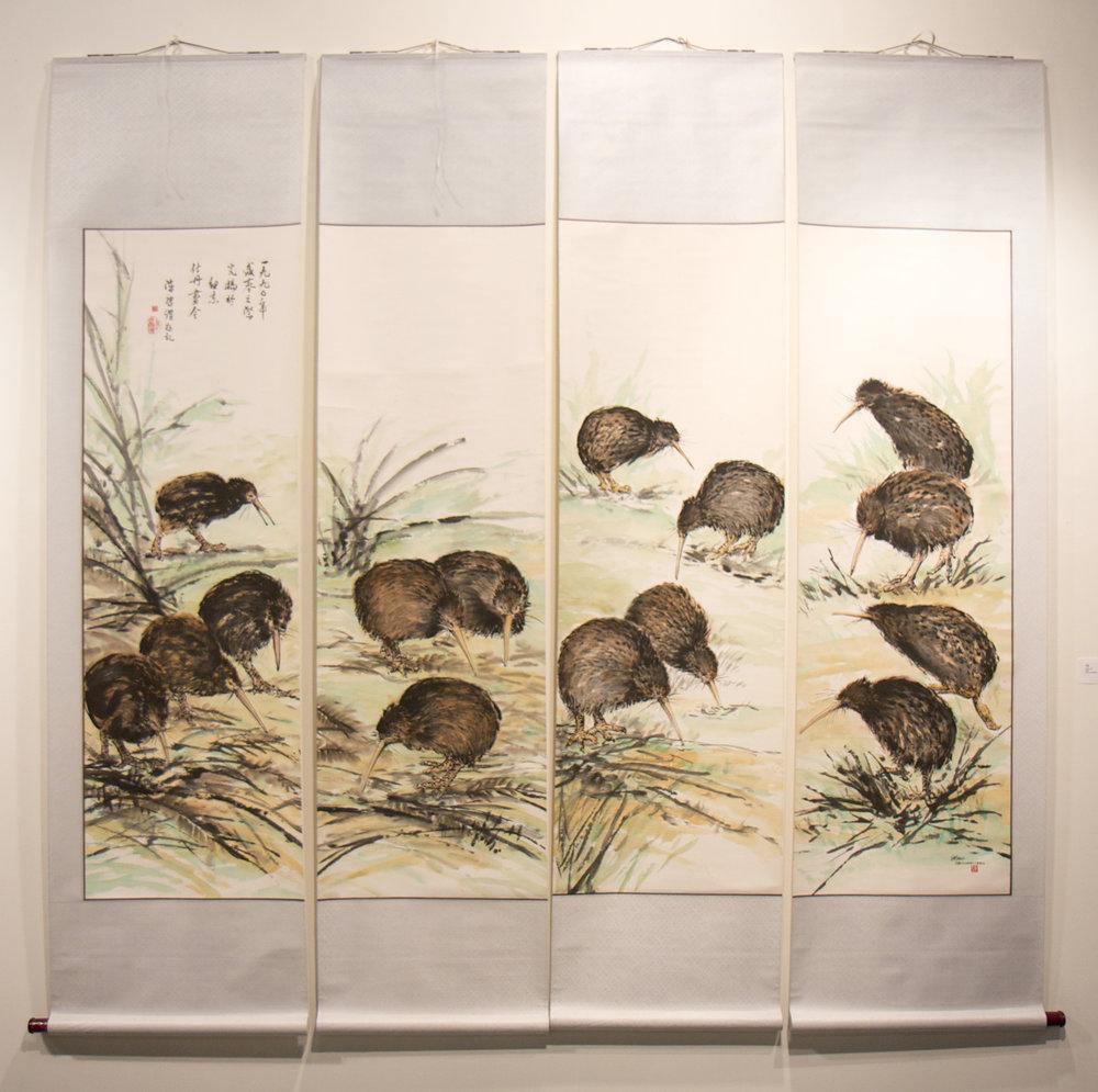 Stan Chan - Kiwis   painting on rice paper, mounted on silk    (2 m X 2m)
