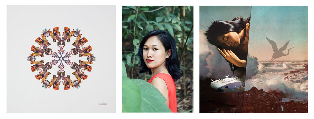 Left:  Yuk King Tan, Overcast (2004)  Centre:  Vera Mey, portrait by Lavender Chang  Right:  Kerry Ann Lee,  The Difficulties of Being Marco Polo (2017)