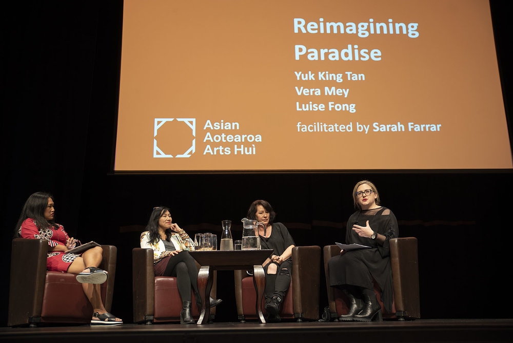 Vera Mey, Yuk King Tan and Luise Fong in conversation with Sarah Farrar at AAAH2018 Symposium at Te Papa  - Photo by John Lake