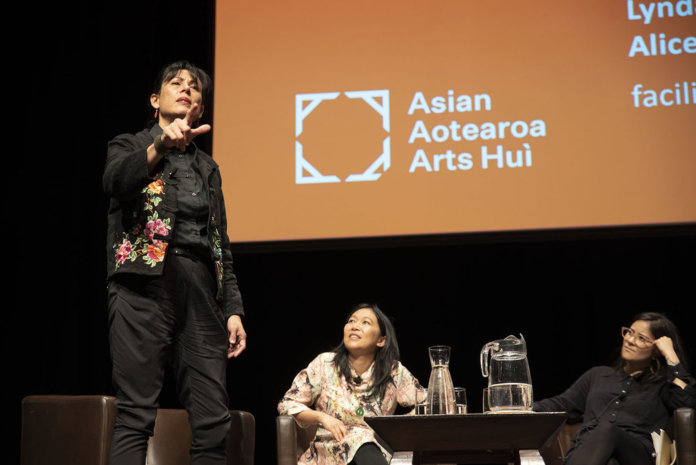 Lynda Chanwai-Earle, Renee Liang and Alice Canton in conversation with Julie Zhu at AAAH2018 symposium at Te Papa  - Photo by John Lake