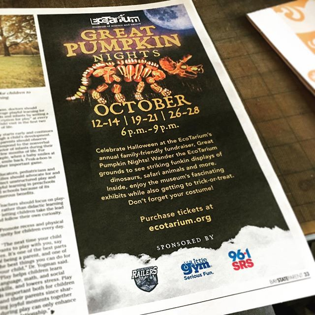 One of the newspaper ads we designed for @ecotarium's Pumpkin Festival. It's the last weekend they're open! Don't miss the fun.
