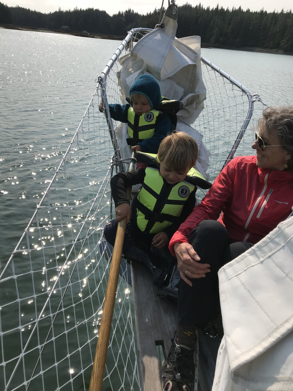 Grandma comfy in the bowsprit.