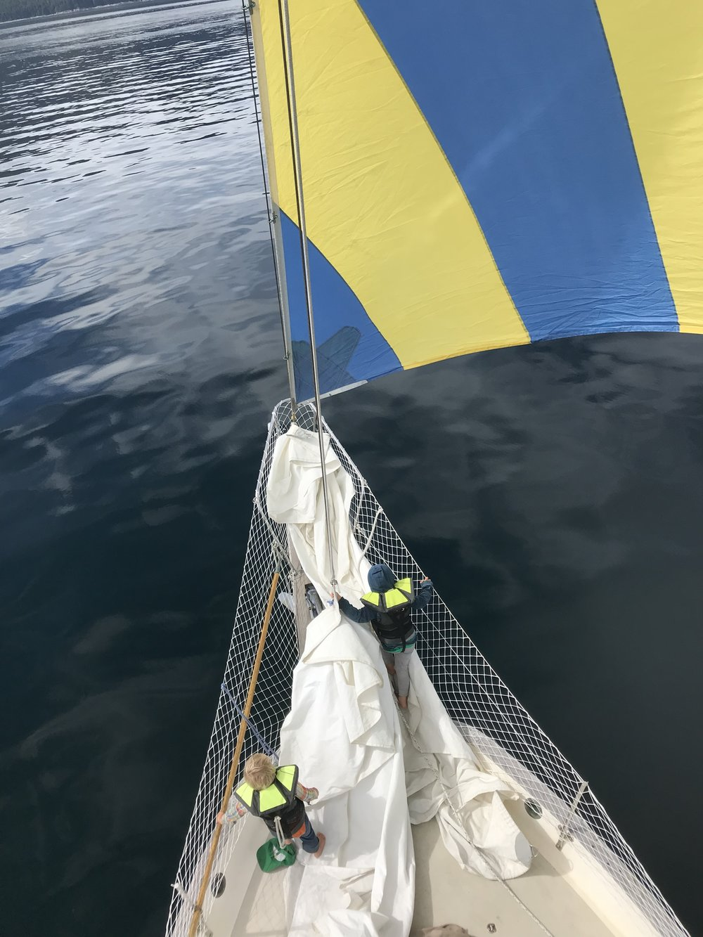 Flying our 1970s-era drifter (a light wind sail).