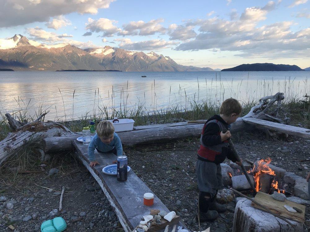Calm evening campfire.