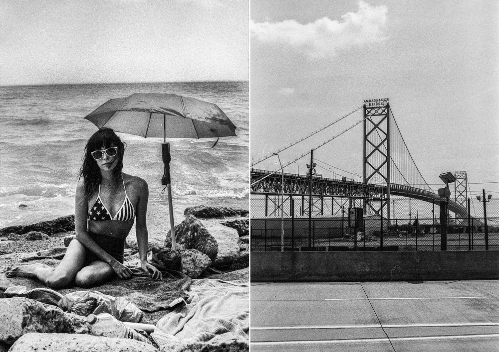 Diana with improvised sunshade, Toronto, 2018 & Ambassador Bridge, Detroit, 2018