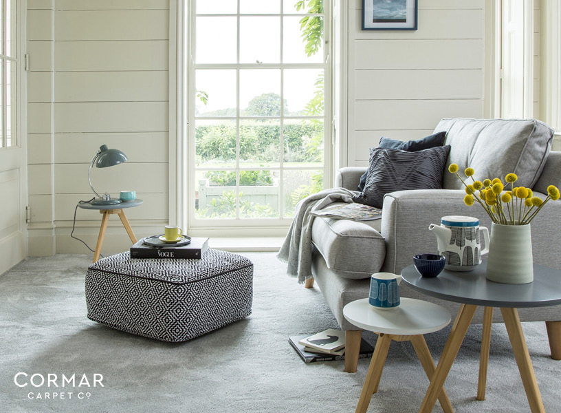 Saxony carpet fluffy grey Bath