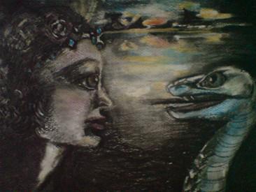 """Drømmebildet er lagd av billedkunstner Hanne Dahl Karlsen fra Kongsberg, og er en illustrasjon fra artikkelen """"Slangen"""" som er skrevet av meg. Artikkelen """"Slangen"""" handler om å jobbe med drømmer. (Norsk Gestalttidsskrift: Årgang 5 (2008) utgave 1 .)  En drøm kan være et eksistensielt budskap fra deg selv til deg selv. Les   artikkelen om slangen ."""