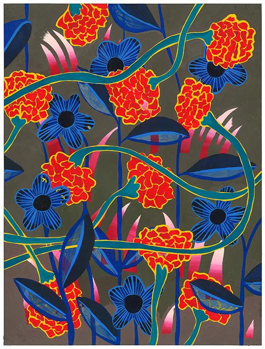 "Crimson Flame , acrylic gouache on hot press paper, 12 x 16"""