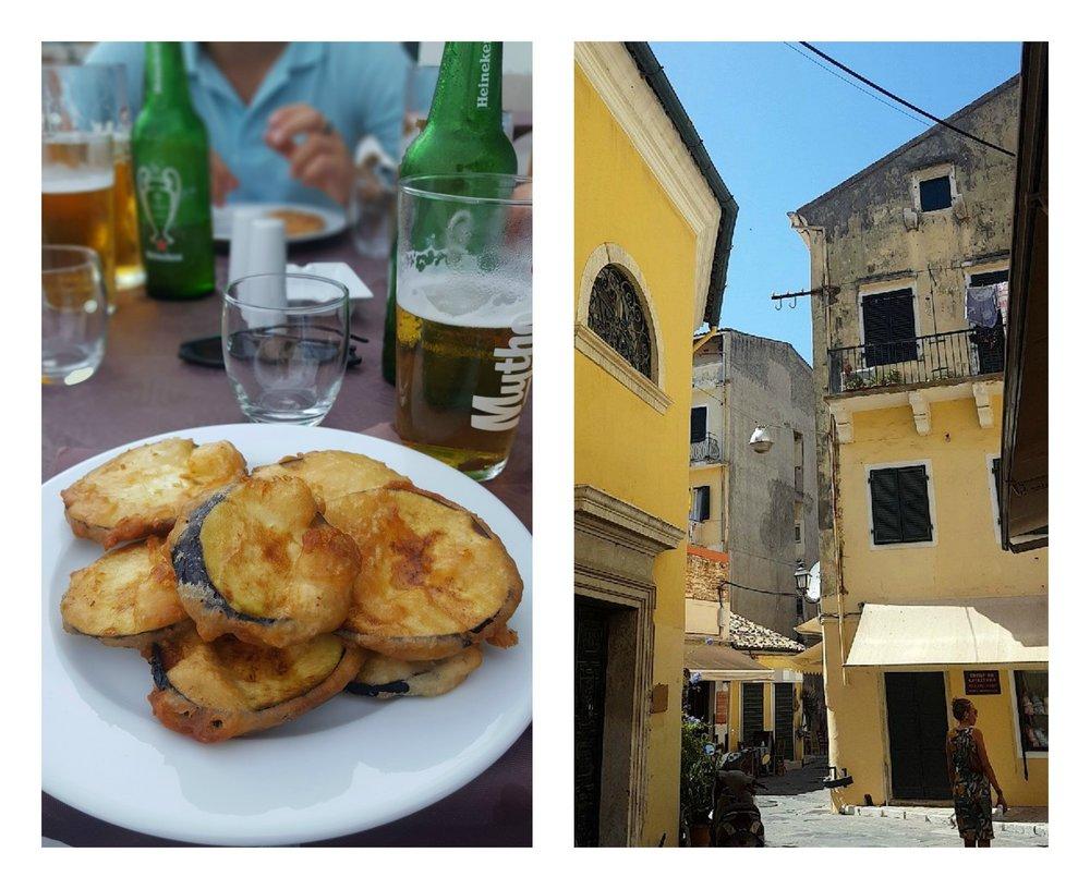Friterad Aubergine och Corfu old Town.
